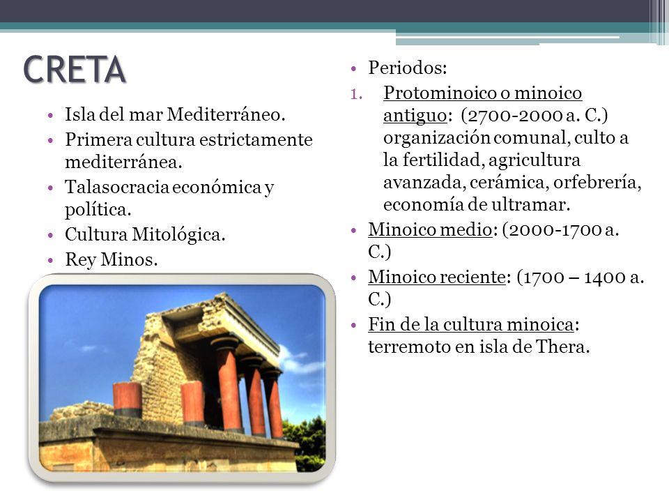 CRETA Isla del mar Mediterráneo.Primera cultura estrictamente mediterránea.