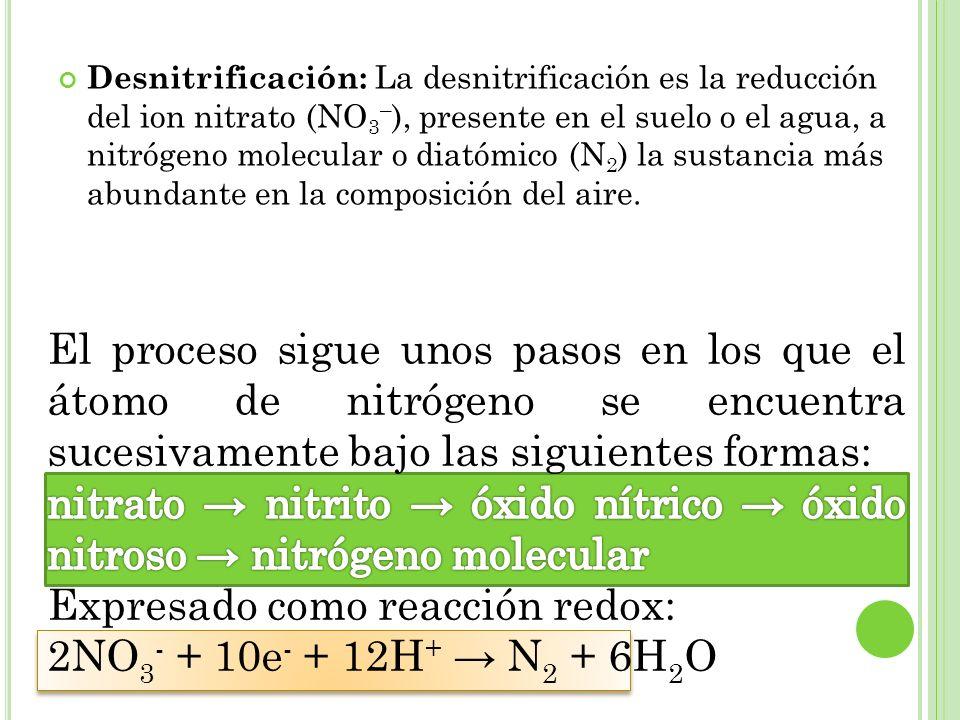 Desnitrificación: La desnitrificación es la reducción del ion nitrato (NO 3 – ), presente en el suelo o el agua, a nitrógeno molecular o diatómico (N