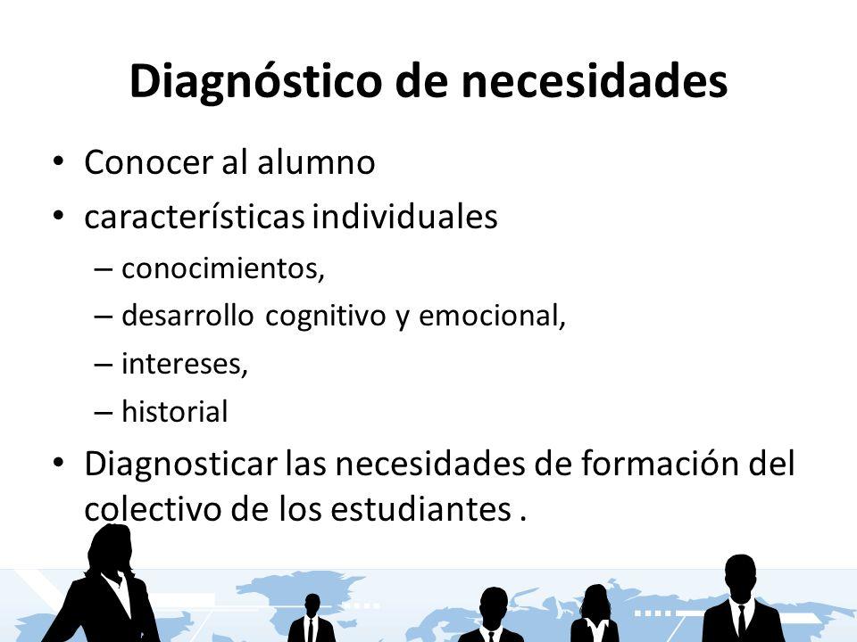 Diagnóstico de necesidades Conocer al alumno características individuales – conocimientos, – desarrollo cognitivo y emocional, – intereses, – historia