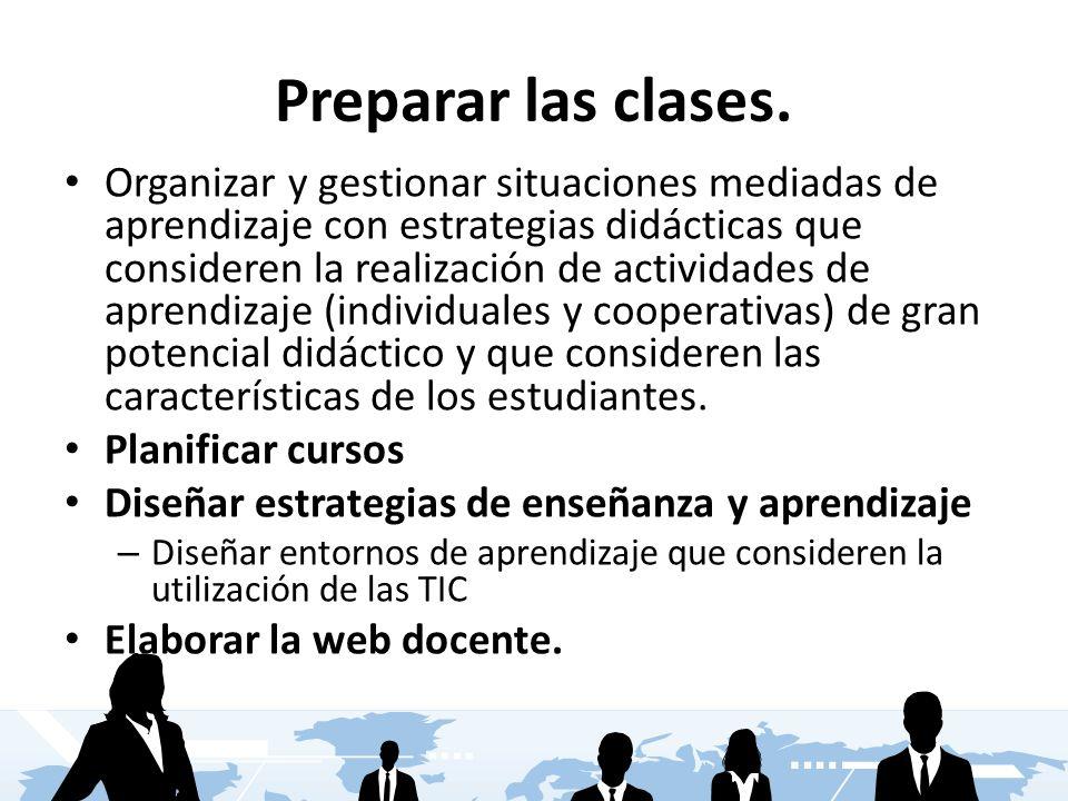 Preparar las clases. Organizar y gestionar situaciones mediadas de aprendizaje con estrategias didácticas que consideren la realización de actividades