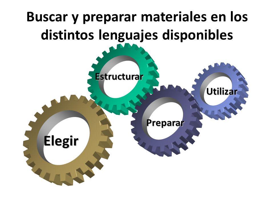 Buscar y preparar materiales en los distintos lenguajes disponibles Elegir Estructurar Utilizar Preparar