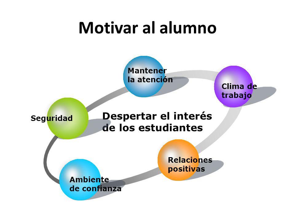 Motivar al alumno Despertar el interés de los estudiantes Seguridad Mantener la atención Clima de trabajo Relaciones positivas Ambiente de confianza