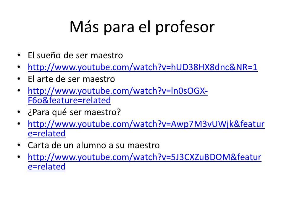 Más para el profesor El sueño de ser maestro http://www.youtube.com/watch?v=hUD38HX8dnc&NR=1 El arte de ser maestro http://www.youtube.com/watch?v=ln0