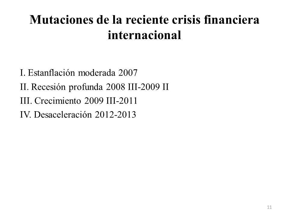 Mutaciones de la reciente crisis financiera internacional I. Estanflación moderada 2007 II. Recesión profunda 2008 III-2009 II III. Crecimiento 2009 I