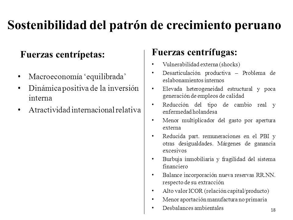Sostenibilidad del patrón de crecimiento peruano Fuerzas centrípetas: Macroeconomía equilibrada Dinámica positiva de la inversión interna Atractividad