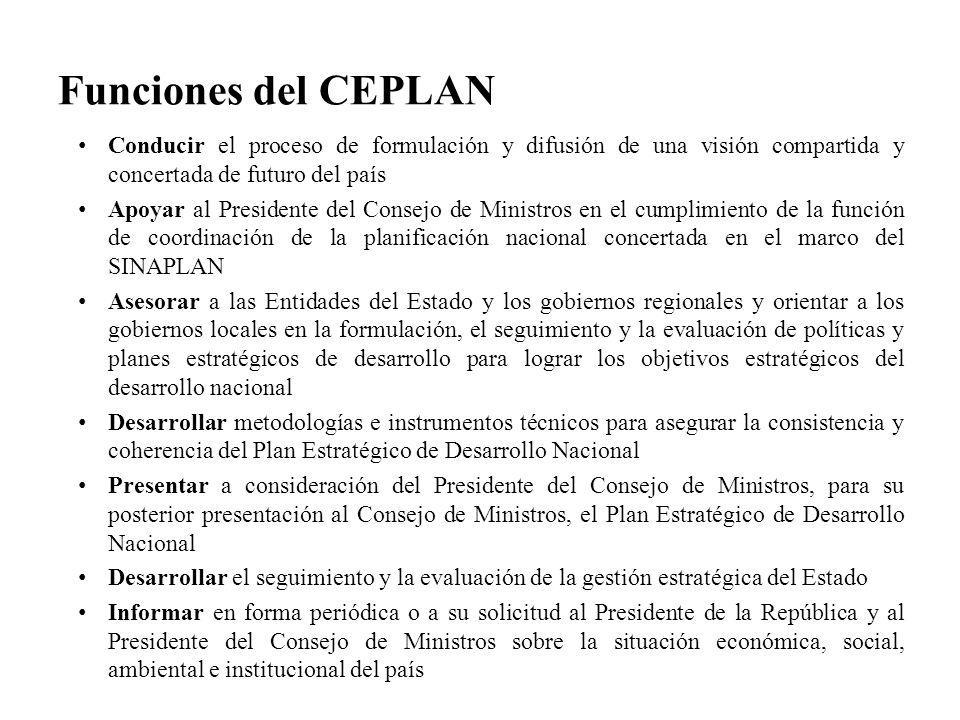 Funciones del CEPLAN Conducir el proceso de formulación y difusión de una visión compartida y concertada de futuro del país Apoyar al Presidente del C