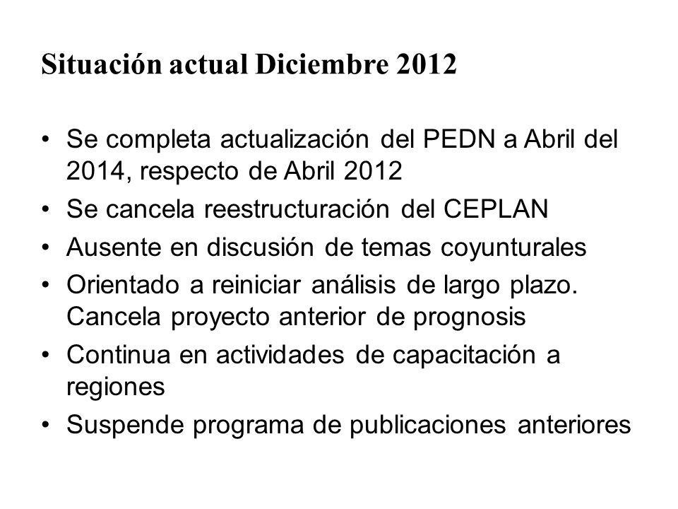 Situación actual Diciembre 2012 Se completa actualización del PEDN a Abril del 2014, respecto de Abril 2012 Se cancela reestructuración del CEPLAN Aus