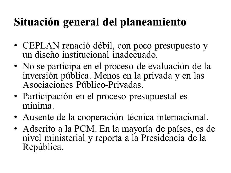 Situación general del planeamiento CEPLAN renació débil, con poco presupuesto y un diseño institucional inadecuado. No se participa en el proceso de e