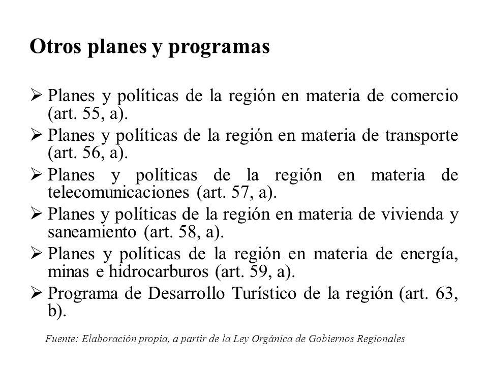 Planes y políticas de la región en materia de comercio (art. 55, a). Planes y políticas de la región en materia de transporte (art. 56, a). Planes y p