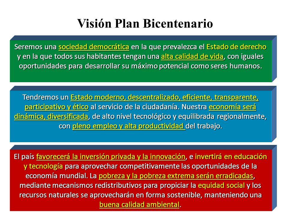 Visión Plan Bicentenario Seremos una sociedad democrática en la que prevalezca el Estado de derecho y en la que todos sus habitantes tengan una alta c