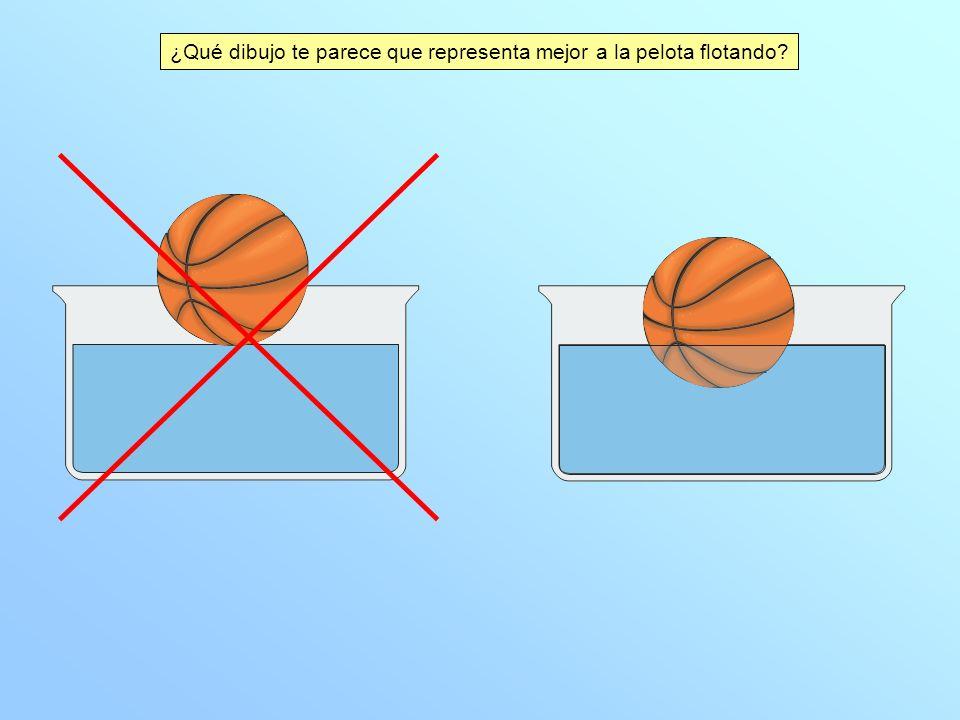 ¿Qué dibujo te parece que representa mejor a la pelota flotando?