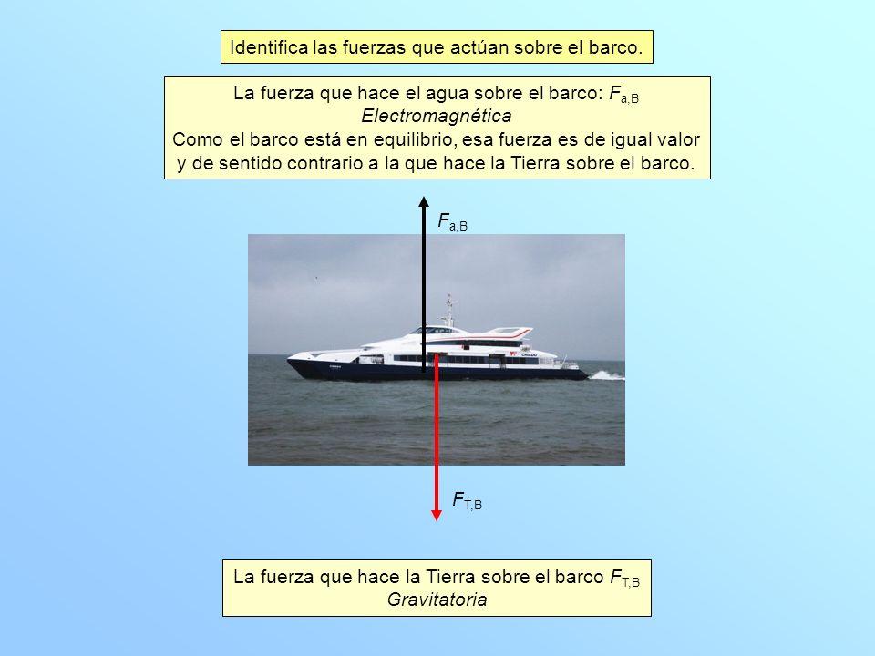 Identifica las fuerzas que actúan sobre el barco. La fuerza que hace la Tierra sobre el barco F T,B Gravitatoria La fuerza que hace el agua sobre el b
