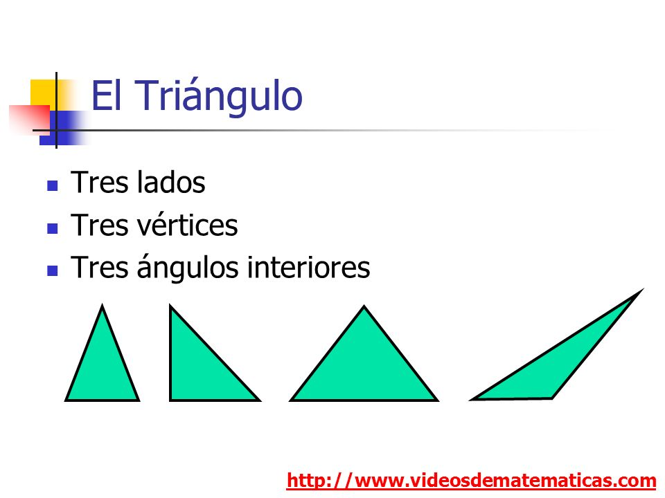 El Triángulo http://www.videosdematematicas.com Tres lados Tres vértices Tres ángulos interiores