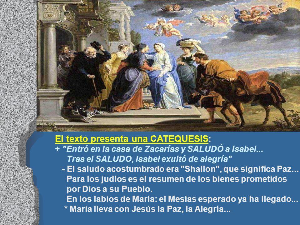 En el Evangelio, Isabel proclama a María bienaventurada. (Lc 1,39-56) En la Visitación, en Judea, María llevaba a Jesús por los caminos de la tierra.