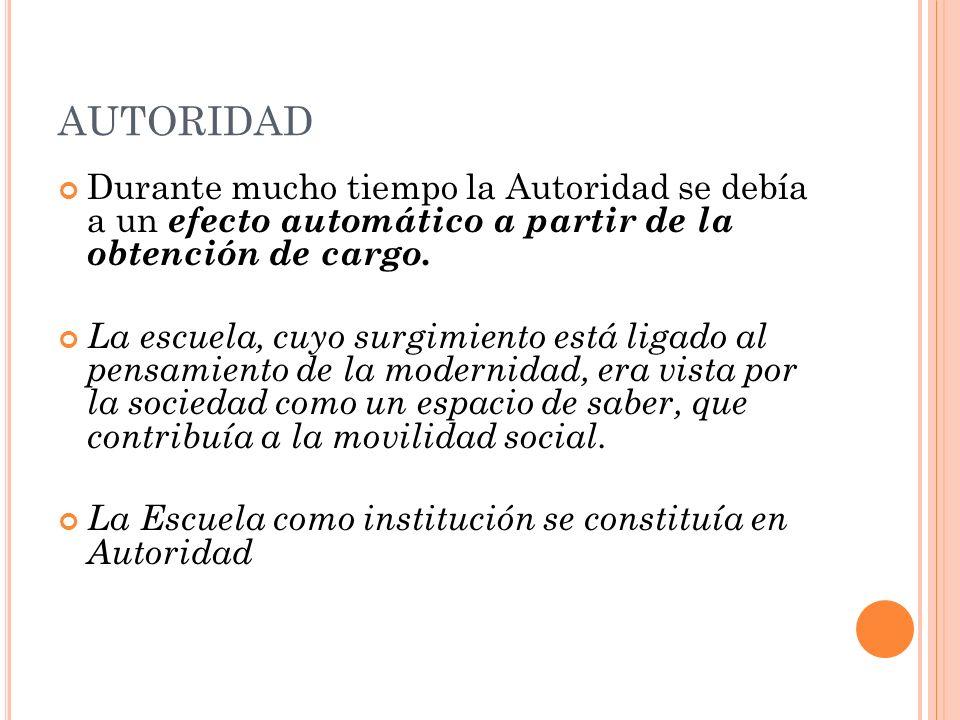 AUTORIDAD Durante mucho tiempo la Autoridad se debía a un efecto automático a partir de la obtención de cargo. La escuela, cuyo surgimiento está ligad