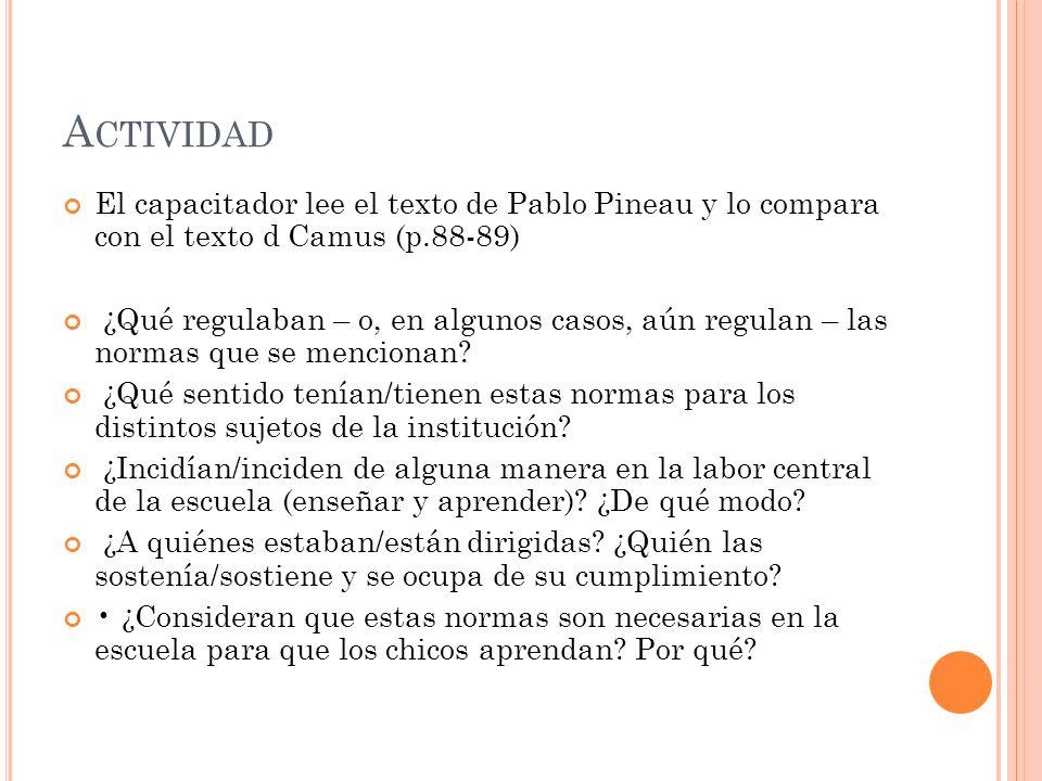 A CTIVIDAD El capacitador lee el texto de Pablo Pineau y lo compara con el texto d Camus (p.88-89) ¿Qué regulaban – o, en algunos casos, aún regulan –