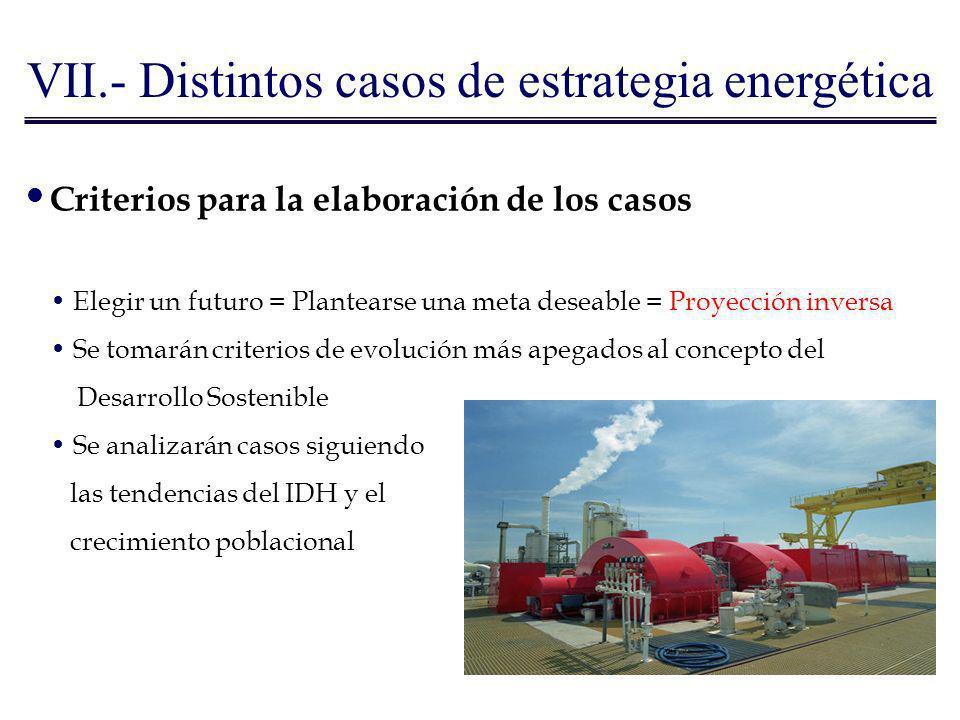 VII.- Distintos casos de estrategia energética Criterios para la elaboración de los casos Elegir un futuro = Plantearse una meta deseable = Proyección