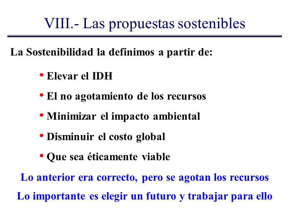 La Sostenibilidad la definimos a partir de: Elevar el IDH El no agotamiento de los recursos Minimizar el impacto ambiental Disminuir el costo global Q