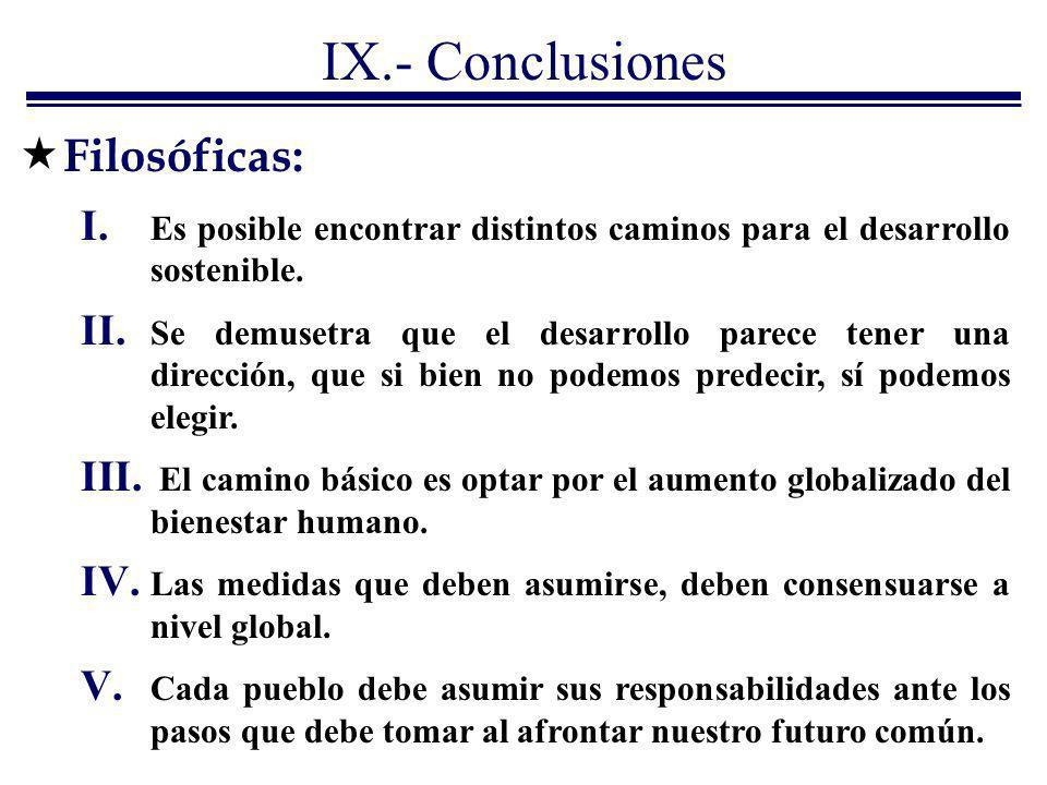 IX.- Conclusiones I. Es posible encontrar distintos caminos para el desarrollo sostenible. II. Se demusetra que el desarrollo parece tener una direcci