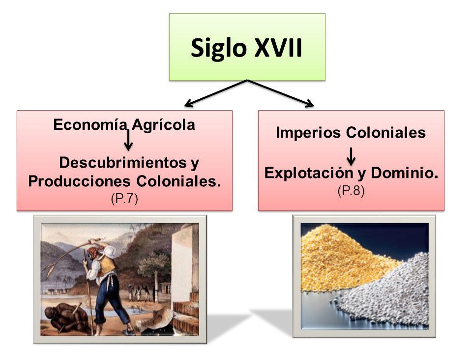 Siglo XVII Economía Agrícola Descubrimientos y Producciones Coloniales. (P.7) Economía Agrícola Descubrimientos y Producciones Coloniales. (P.7) Imper