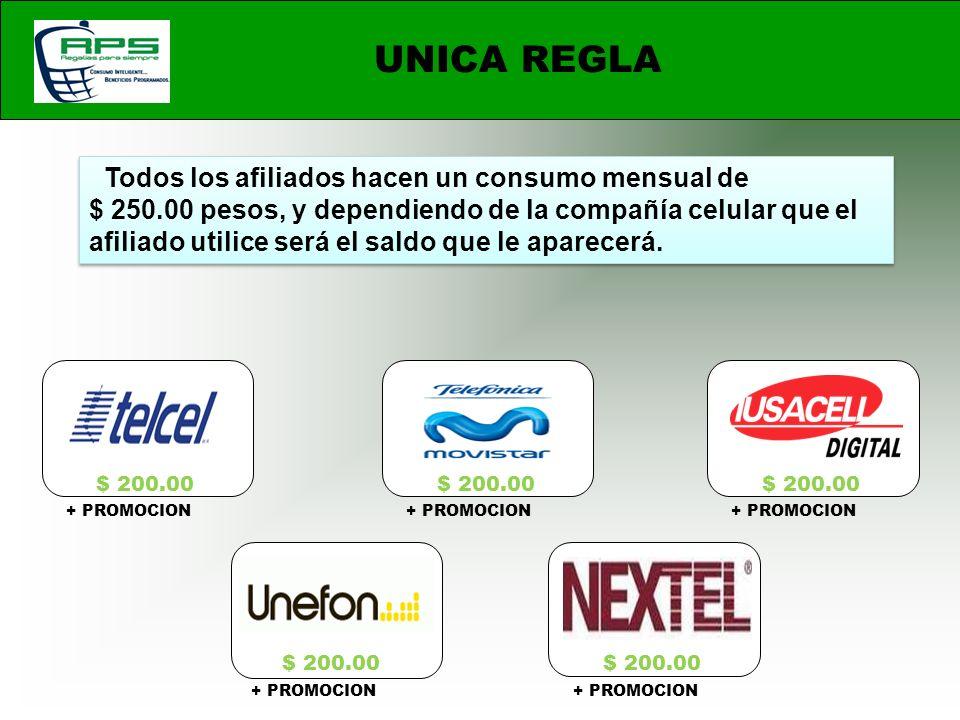 UNICA REGLA Todos los afiliados hacen un consumo mensual de $ 250.00 pesos, y dependiendo de la compañía celular que el afiliado utilice será el saldo que le aparecerá.