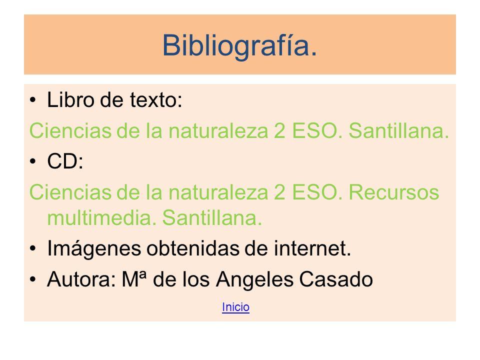 Bibliografía. Libro de texto: Ciencias de la naturaleza 2 ESO. Santillana. CD: Ciencias de la naturaleza 2 ESO. Recursos multimedia. Santillana. Imáge