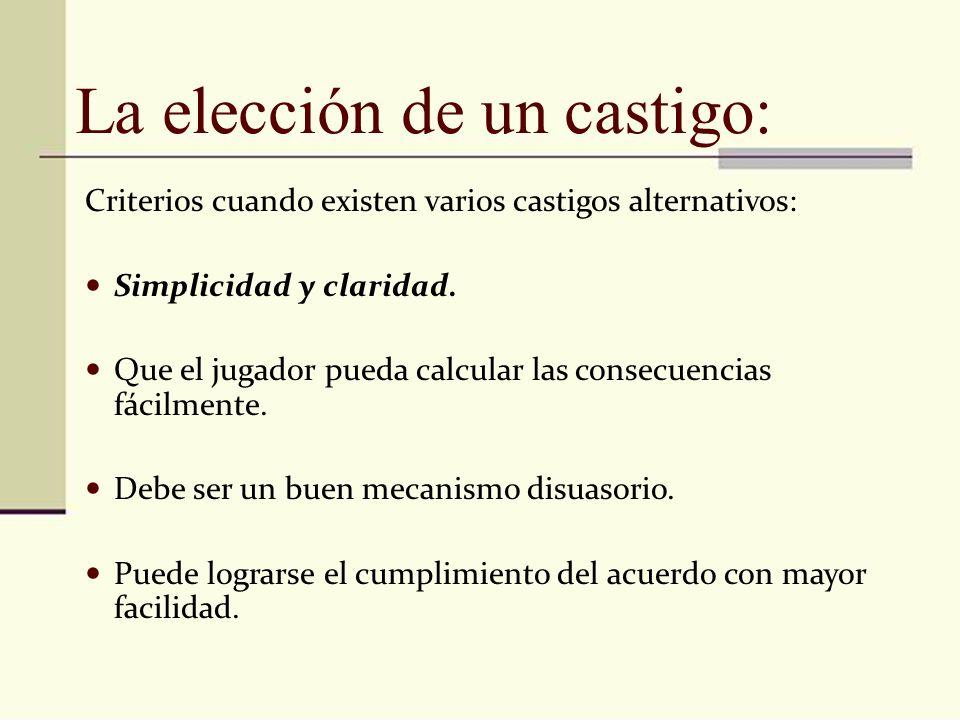 La elección de un castigo: Criterios cuando existen varios castigos alternativos: Simplicidad y claridad. Que el jugador pueda calcular las consecuenc
