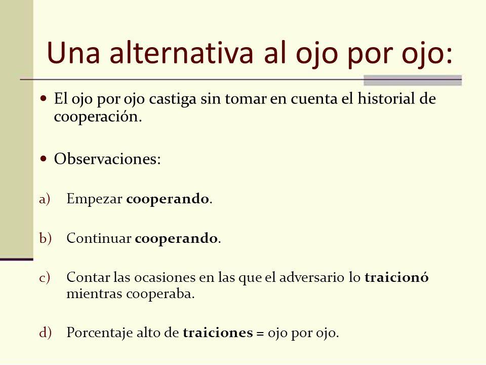Una alternativa al ojo por ojo: El ojo por ojo castiga sin tomar en cuenta el historial de cooperación. Observaciones: a) Empezar cooperando. b) Conti