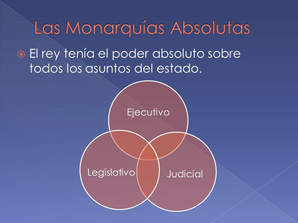 El rey tenía el poder absoluto sobre todos los asuntos del estado. Ejecutivo JudicialLegislativo