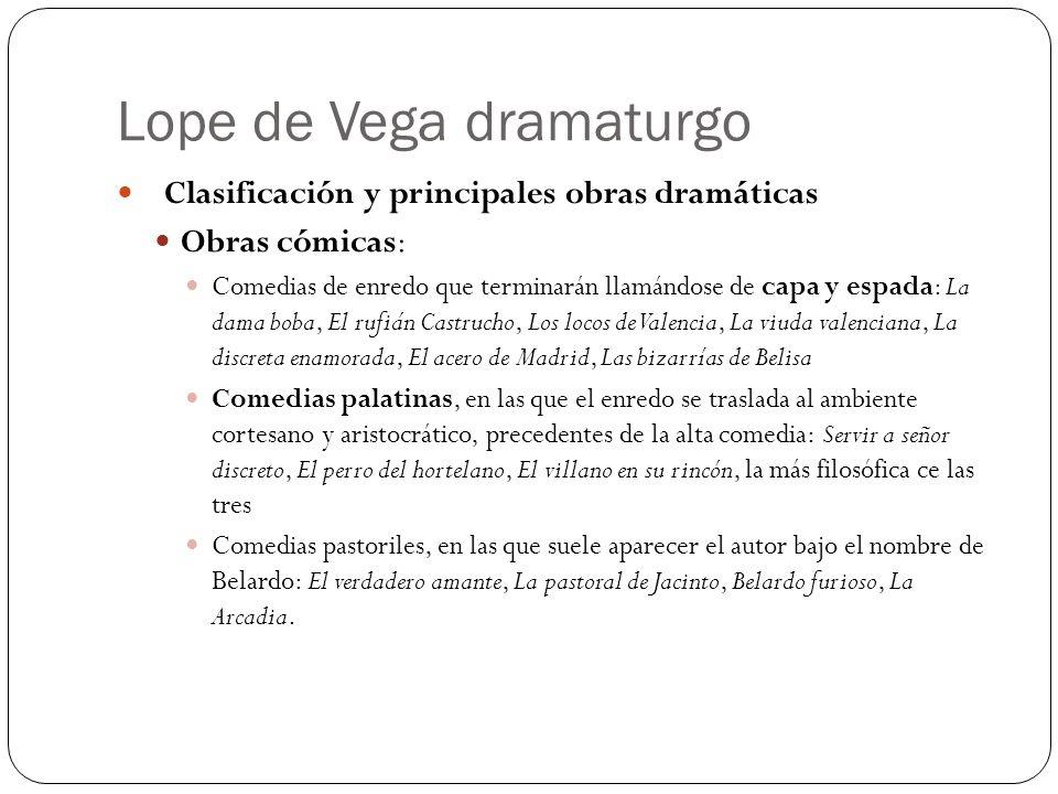 Lope de Vega dramaturgo Clasificación y principales obras dramáticas Obras cómicas: Comedias de enredo que terminarán llamándose de capa y espada: La
