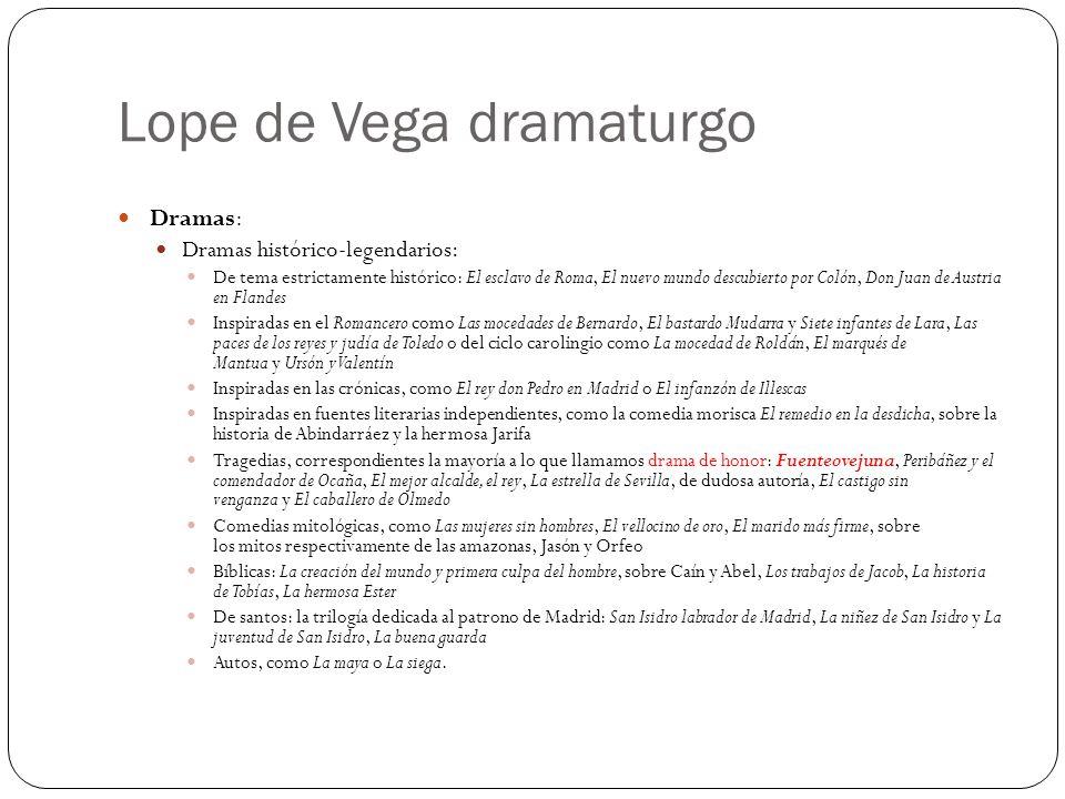 Lope de Vega dramaturgo Dramas: Dramas histórico-legendarios: De tema estrictamente histórico: El esclavo de Roma, El nuevo mundo descubierto por Coló