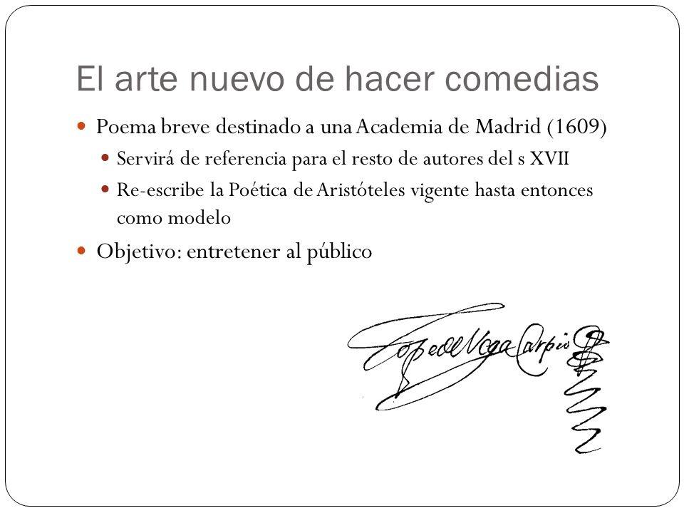 El arte nuevo de hacer comedias Poema breve destinado a una Academia de Madrid (1609) Servirá de referencia para el resto de autores del s XVII Re-esc