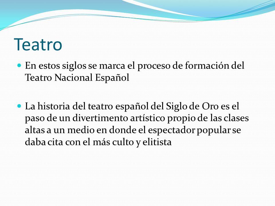 Teatro En estos siglos se marca el proceso de formación del Teatro Nacional Español La historia del teatro español del Siglo de Oro es el paso de un d