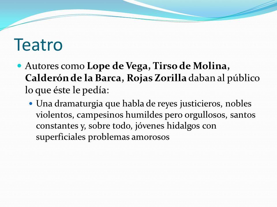 Teatro Autores como Lope de Vega, Tirso de Molina, Calderón de la Barca, Rojas Zorilla daban al público lo que éste le pedía: Una dramaturgia que habl