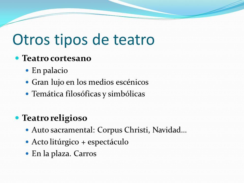 Otros tipos de teatro Teatro cortesano En palacio Gran lujo en los medios escénicos Temática filosóficas y simbólicas Teatro religioso Auto sacramenta