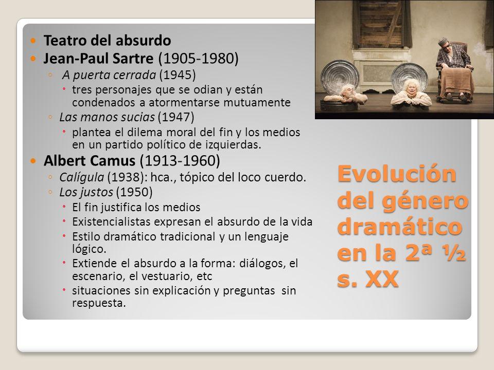 Evolución del género dramático en la 2ª ½ s. XX Teatro del absurdo Jean-Paul Sartre (1905-1980) A puerta cerrada (1945) tres personajes que se odian y