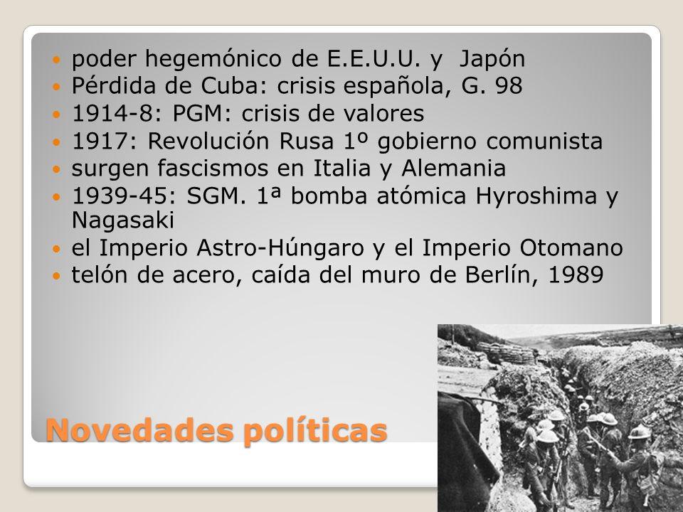 Novedades políticas poder hegemónico de E.E.U.U. y Japón Pérdida de Cuba: crisis española, G. 98 1914-8: PGM: crisis de valores 1917: Revolución Rusa
