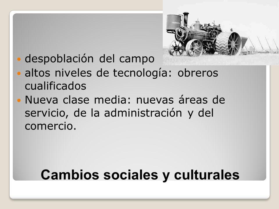 Cambios sociales y culturales despoblación del campo altos niveles de tecnología: obreros cualificados Nueva clase media: nuevas áreas de servicio, de