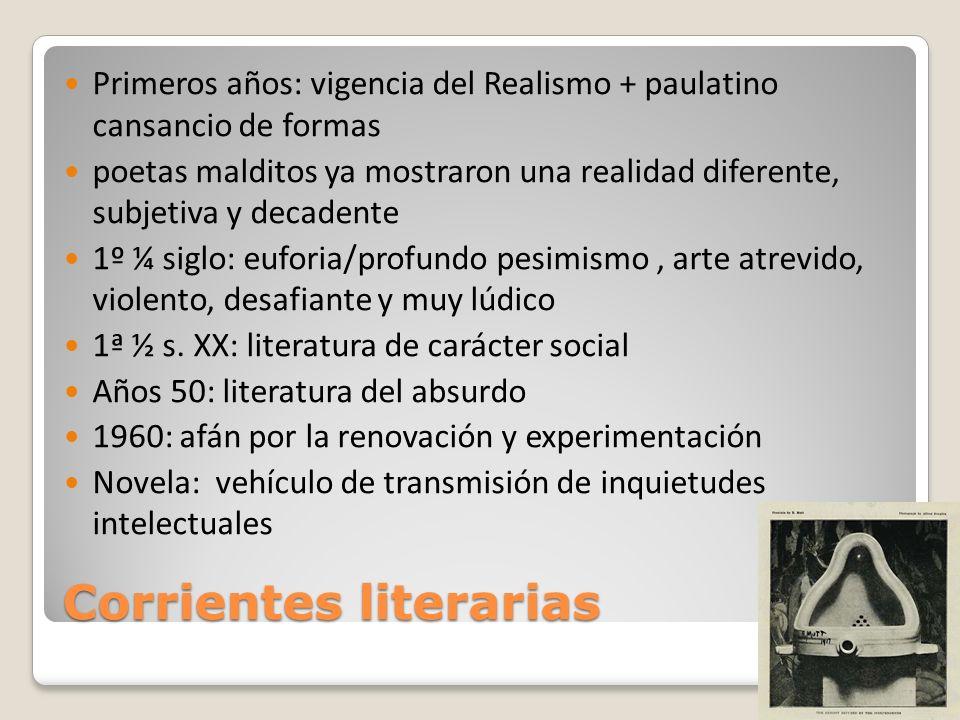 Corrientes literarias Primeros años: vigencia del Realismo + paulatino cansancio de formas poetas malditos ya mostraron una realidad diferente, subjet