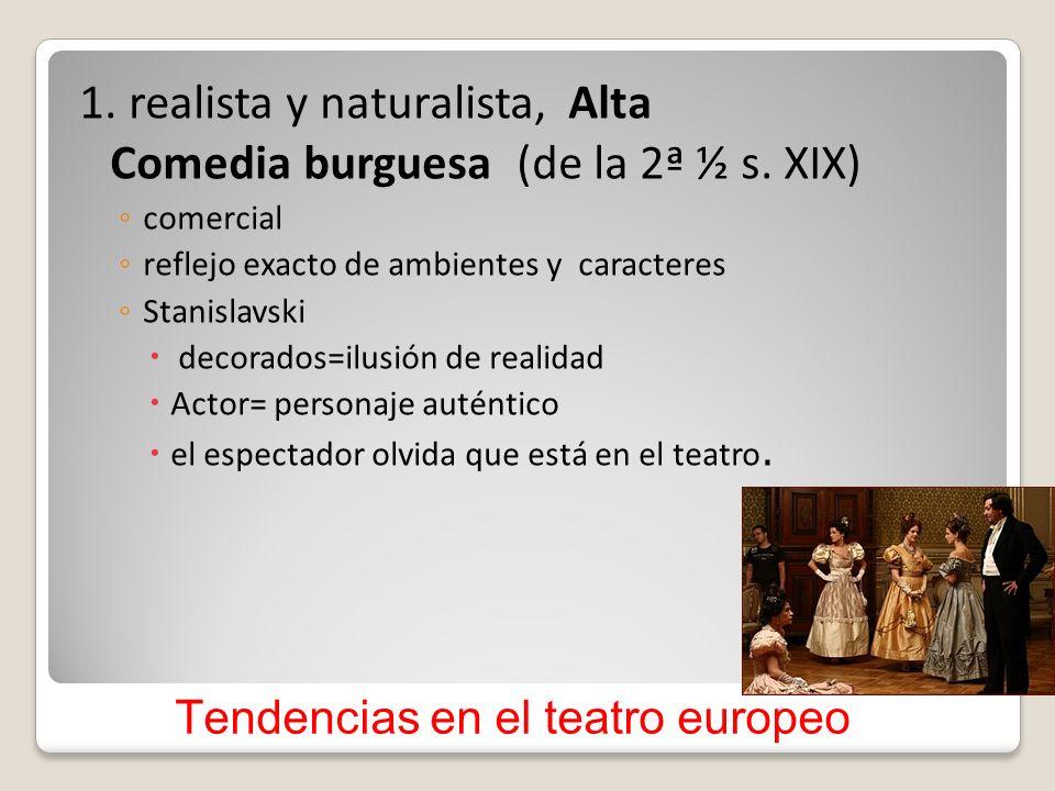 Tendencias en el teatro europeo 1. realista y naturalista, Alta Comedia burguesa (de la 2ª ½ s. XIX) comercial reflejo exacto de ambientes y caractere