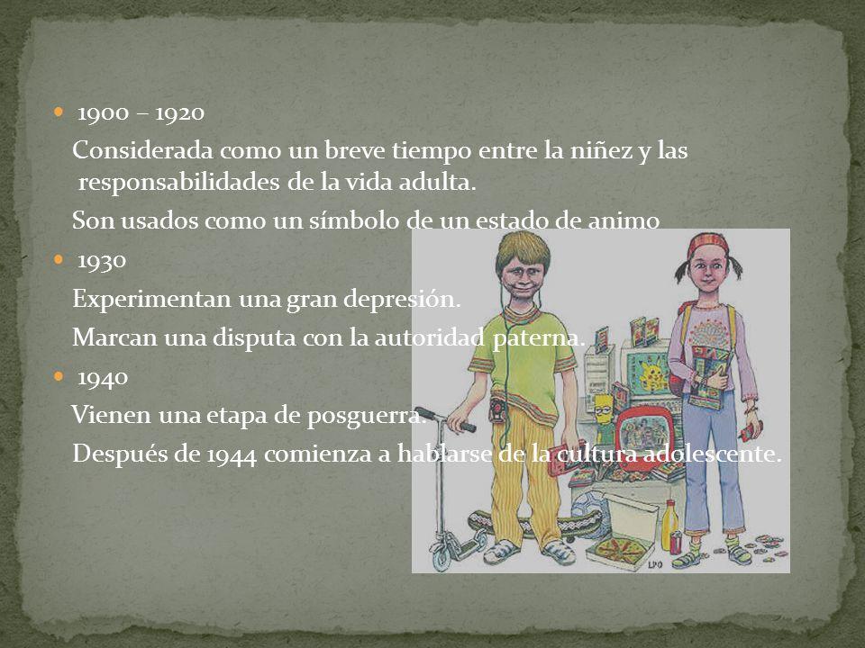 1900 – 1920 Considerada como un breve tiempo entre la niñez y las responsabilidades de la vida adulta. Son usados como un símbolo de un estado de anim