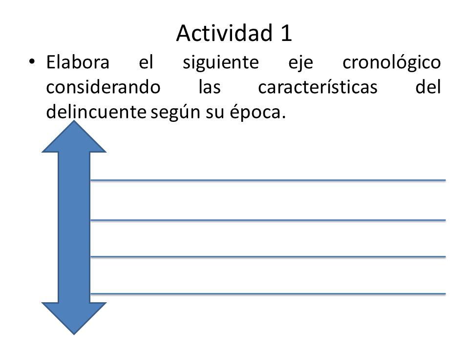 Actividad 1 Elabora el siguiente eje cronológico considerando las características del delincuente según su época.