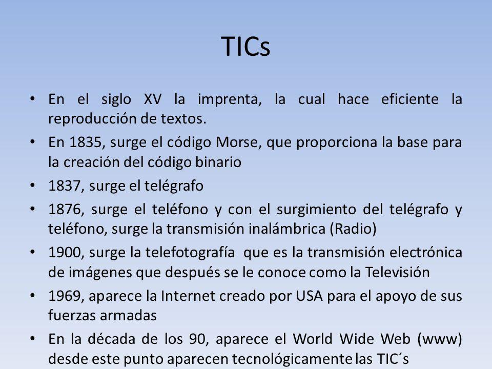 TICs En el siglo XV la imprenta, la cual hace eficiente la reproducción de textos.
