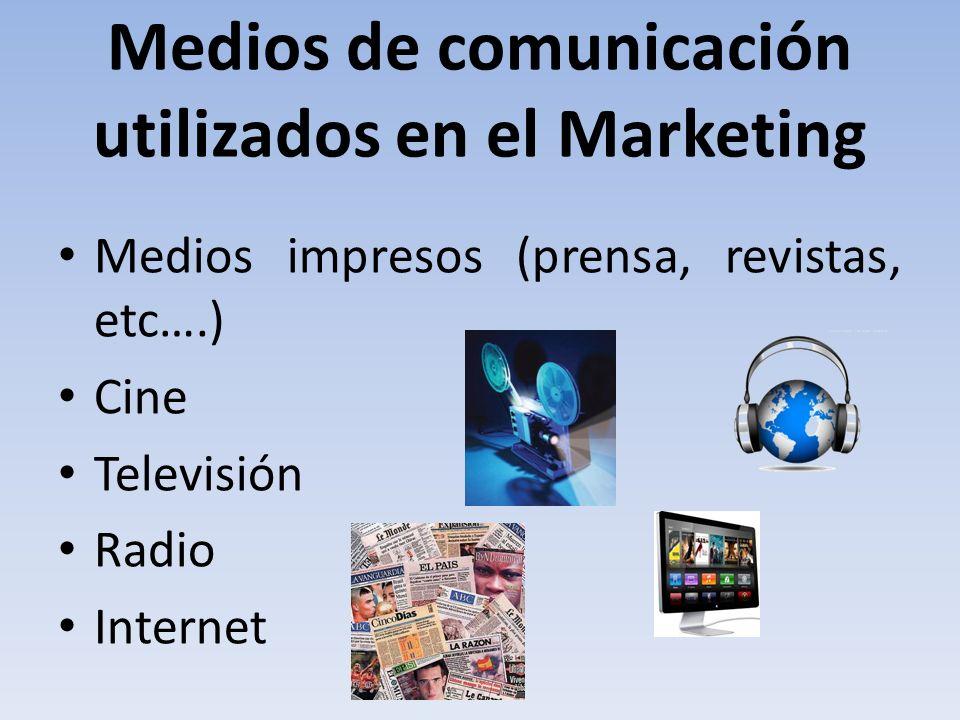 Medios de comunicación utilizados en el Marketing Medios impresos (prensa, revistas, etc….) Cine Televisión Radio Internet