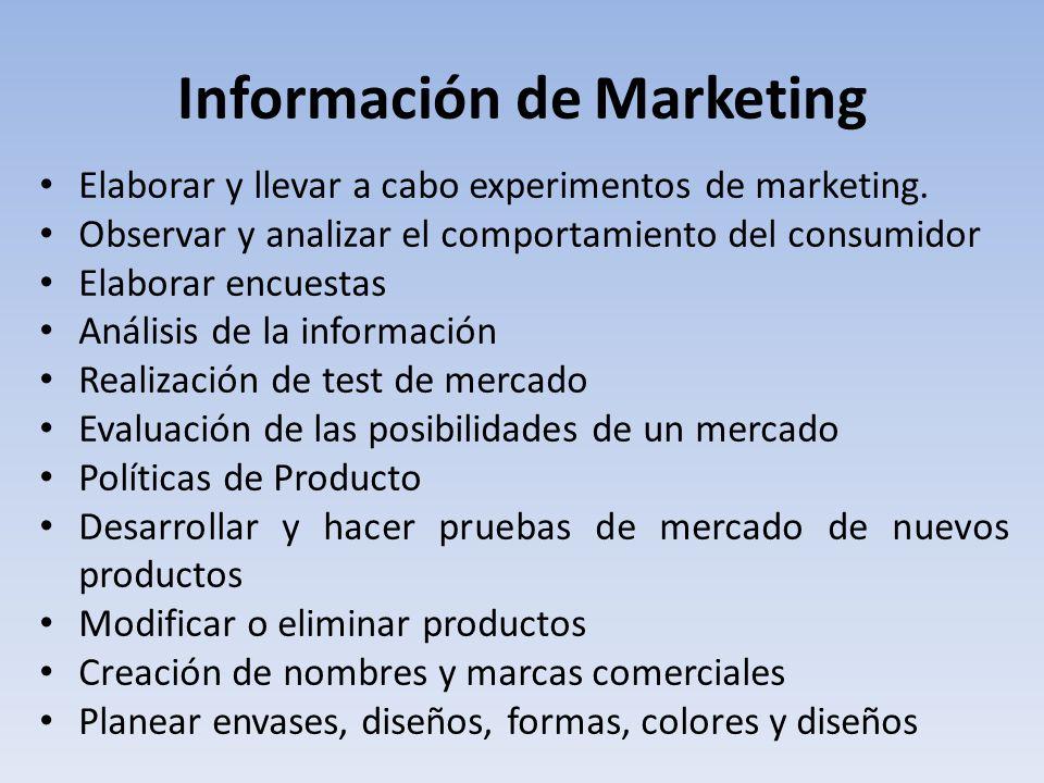 Información de Marketing Elaborar y llevar a cabo experimentos de marketing.