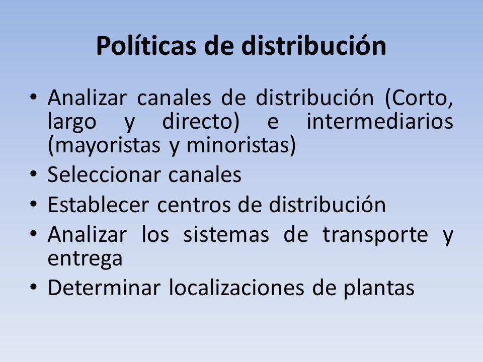 Políticas de distribución Analizar canales de distribución (Corto, largo y directo) e intermediarios (mayoristas y minoristas) Seleccionar canales Establecer centros de distribución Analizar los sistemas de transporte y entrega Determinar localizaciones de plantas