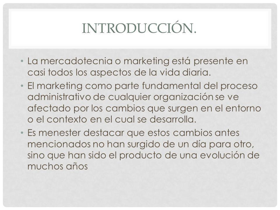 INTRODUCCIÓN. La mercadotecnia o marketing está presente en casi todos los aspectos de la vida diaria. El marketing como parte fundamental del proceso