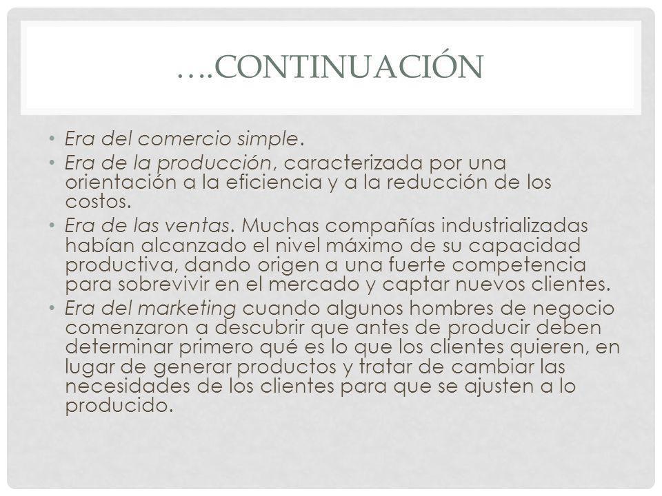 ….CONTINUACIÓN Era del comercio simple. Era de la producción, caracterizada por una orientación a la eficiencia y a la reducción de los costos. Era de