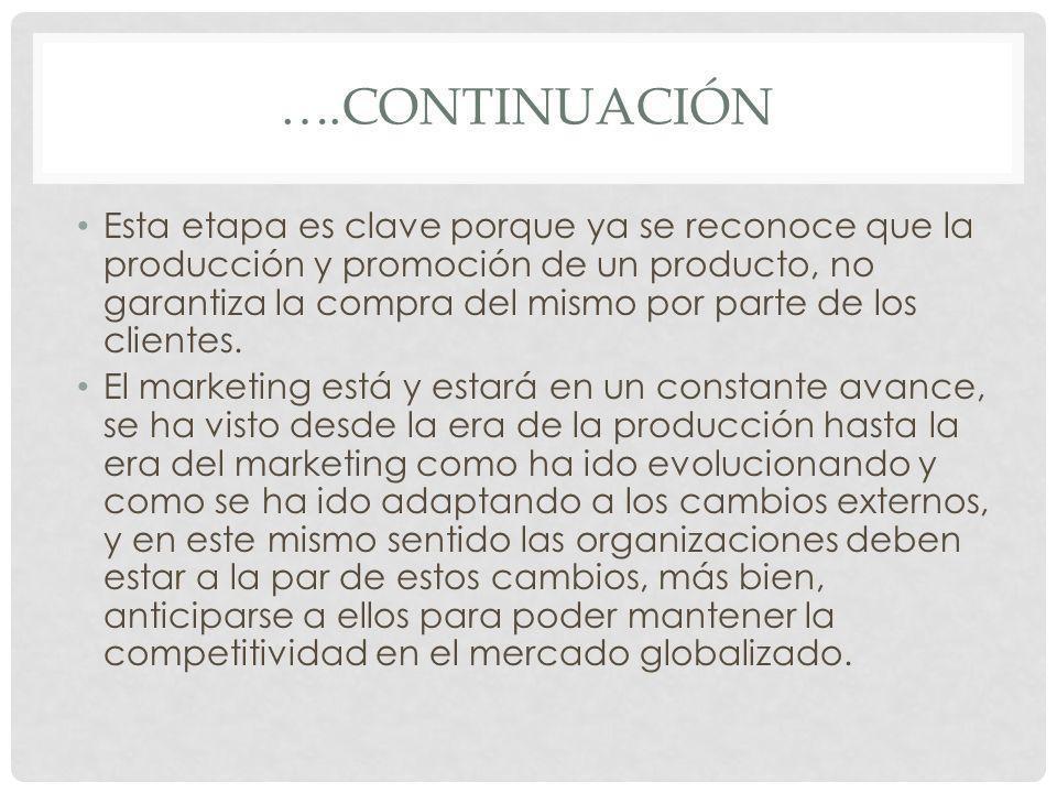 ….CONTINUACIÓN Esta etapa es clave porque ya se reconoce que la producción y promoción de un producto, no garantiza la compra del mismo por parte de l