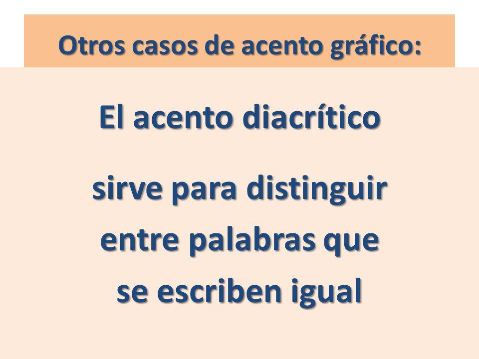 Otros casos de acento gráfico: El acento diacrítico sirve para distinguir entre palabras que se escriben igual